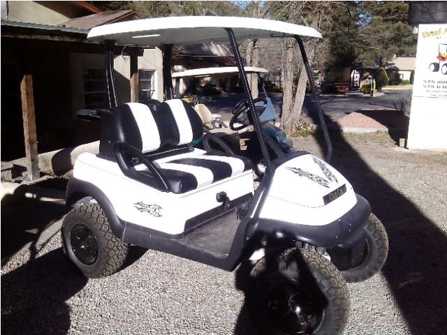 2009 Club Car Precedent White Body With Black Graphics Custome Seat Covers A Arm Lift Kit 23 Tires On Blacked Out 12 Rims Bad To The Bone